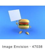 #47038 Royalty-Free (Rf) Illustration Of A 3d Cheeseburger Mascot Holding Up A Sign On A Post - Version 1