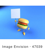 #47039 Royalty-Free (Rf) Illustration Of A 3d Cheeseburger Mascot Holding Up A Sign On A Post - Version 2
