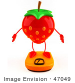 #47049 Royalty-Free (Rf) Illustration Of A 3d Strawberry Mascot Standing On A Scale - Version 1