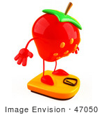 #47050 Royalty-Free (Rf) Illustration Of A 3d Strawberry Mascot Standing On A Scale - Version 2
