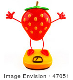 #47051 Royalty-Free (Rf) Illustration Of A 3d Strawberry Mascot Standing On A Scale - Version 3