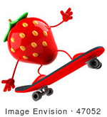 #47052 Royalty-Free (Rf) Illustration Of A 3d Strawberry Mascot Skateboarding - Version 2
