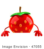 #47055 Royalty-Free (Rf) Illustration Of A 3d Strawberry Mascot Standing Behind A Blank Sign