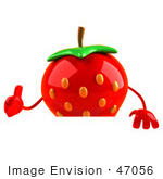 #47056 Royalty-Free (Rf) Illustration Of A 3d Strawberry Mascot Giving The Thumbs Up And Standing Behind A Blank Sign