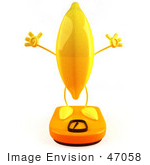 #47058 Royalty-Free (Rf) Illustration Of A 3d Yellow Banana Mascot Standing On A Scale - Version 3