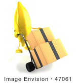 #47061 Royalty-Free (Rf) Illustration Of A 3d Banana Mascot Pushing Boxes On A Hand Truck