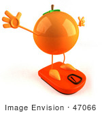 #47066 Royalty-Free (Rf) Illustration Of A 3d Naval Orange Mascot On A Scale