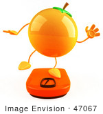 #47067 Royalty-Free (Rf) Illustration Of A 3d Naval Orange Mascot Standing On A Scale - Version 3