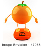 #47068 Royalty-Free (Rf) Illustration Of A 3d Naval Orange Mascot Standing On A Scale - Version 1