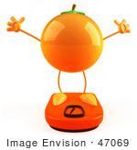 #47069 Royalty-Free (Rf) Illustration Of A 3d Naval Orange Mascot Standing On A Scale - Version 4