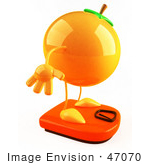 #47070 Royalty-Free (Rf) Illustration Of A 3d Naval Orange Mascot Standing On A Scale - Version 2