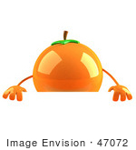 #47072 Royalty-Free (Rf) Illustration Of A 3d Naval Orange Mascot Standing Behind A Blank Sign