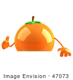 #47073 Royalty-Free (Rf) Illustration Of A 3d Naval Orange Mascot Giving The Thumbs Up And Standing Behind A Blank Sign