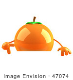 #47074 Royalty-Free (Rf) Illustration Of A 3d Naval Orange Mascot Pointing Down At And Standing Behind A Blank Sign