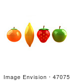 #47075 Royalty-Free (Rf) Illustration Of Floating 3d Orange Banana Strawberry And Green Apple Fruits - Version 3