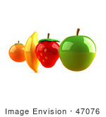 #47076 Royalty-Free (Rf) Illustration Of Floating 3d Orange Banana Strawberry And Green Apple Fruits - Version 4