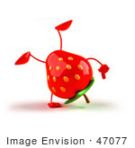 #47077 Royalty-Free (Rf) Illustration Of A 3d Strawberry Mascot Doing A Cartwheel - Version 1