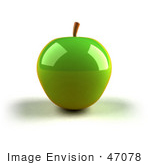#47078 Royalty-Free (Rf) Illustration Of A 3d Green Apple With Light Shining Off Of The Skin - Version 1