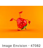 #47082 Royalty-Free (Rf) Illustration Of A 3d Strawberry Mascot Doing A Cartwheel - Version 2