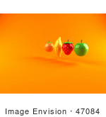 #47084 Royalty-Free (Rf) Illustration Of Floating 3d Orange Banana Strawberry And Green Apple Fruits - Version 2