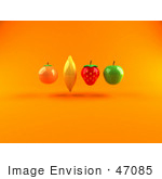 #47085 Royalty-Free (Rf) Illustration Of Floating 3d Orange Banana Strawberry And Green Apple Fruits - Version 1