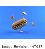 #47087 Royalty-Free (Rf) Illustration Of A 3d Hot Dog With Mustard Mascot Doing A Cartwheel - Version 2