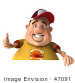 #47091 Royalty-Free (RF) Illustration Of A 3d Fat Burger Boy Mascot Giving The Thumbs Up And Holding A Sign by Julos