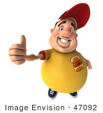 #47092 Royalty-Free (Rf) Illustration Of A 3d Fat Burger Boy Mascot Holding His Thumb Up - Version 1