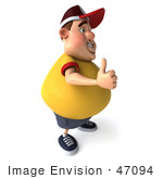 #47094 Royalty-Free (Rf) Illustration Of A 3d Fat Burger Boy Mascot Holding His Thumb Up - Version 2