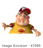 #47095 Royalty-Free (Rf) Illustration Of A 3d Fat Burger Boy Mascot Holding His Thumb Down Over A Blank Sign
