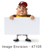 #47105 Royalty-Free (Rf) Illustration Of A 3d Fat Burger Boy Mascot Standing With A Blank Sign