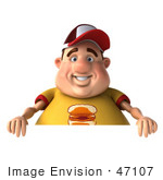 #47107 Royalty-Free (Rf) Illustration Of A 3d Fat Burger Boy Mascot With A Blank Sign
