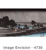 #4730 Photo Of People With Umbrellas Walking Along The Waterfront In The Rain At The Azuma Shrine Japan