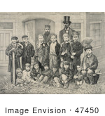 #47450 Royalty-Free Stock Illustration Of D.L. Moody And J.V. Farwell Standing Behind A Group Of 14 Boys On A Street In Front Of A Building by JVPD