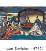 #47451 Royalty-Free Stock Illustration Of Meiji, Emperor Of Japan, And Imperial Family Members Attending The Wedding Of Crown Prince Yoshihito And Princess Kujo Sadako by JVPD