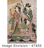 #47452 Royalty-Free Stock Illustration Of Two Servants Fanning And Holding A Parasol Over A Princess On A Boat
