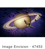 #47453 Royalty-Free Stock Illustration Of A Bat Winged Spacecraft Circling Around Saturn And A Swarm Of Bats In Space