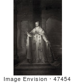 #47454 Royalty-Free Stock Illustration Of A Sepia Engraved Portrait Of Pope Blessed Pius Ix Standing And Posing by JVPD