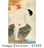 #47455 Royalty-Free Stock Illustration Of Autumn Maple Leaves Around A Nude Asian Woman Bathing Her Feet Over A Stream While Leaning On A Rock
