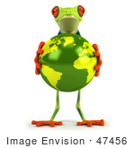 #47456 Royalty-Free (Rf) Illustration Of A 3d Tree Frog Holding The Earth - Pose 1