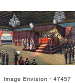 #47457 Royalty-Free Stock Illustration Of The Wedding Receiption Of Crown Prince Yoshihito And Princess Kujo Sadako With Meiji Emperor Of Japan And Imperial Family Members In Attendance