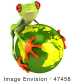#47458 Royalty-Free (Rf) Illustration Of A 3d Green Tree Frog Embracing The Earth