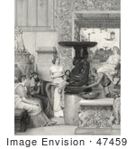 #47459 Royalty-Free Stock Illustration Of Admiring Men, Women And Children Watching A Man Rotate An Elegant Sculpture In A Gallery by JVPD