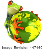 #47460 Royalty-Free (Rf) Illustration Of A 3d Tree Frog Hugging The Earth