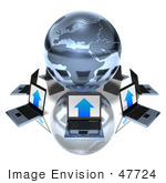 #47724 Royalty-Free (Rf) Illustration Of 3d Laptops Around A Blue Metallic Globe