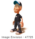 #47725 Royalty-Free (Rf) Illustration Of A 3d White Boy Facing Left