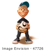 #47726 Royalty-Free (Rf) Illustration Of A 3d White Boy Holding A Soccer Ball