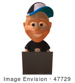 #47729 Royalty-Free (RF) Illustration Of A 3d White Boy Using A Laptop - Version 1 by Julos