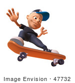#47732 Royalty-Free (Rf) Illustration Of A 3d White Boy Skateboarding - Version 4