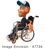 #47734 Royalty-Free (Rf) Illustration Of A 3d White Boy In A Wheelchair - Version 2